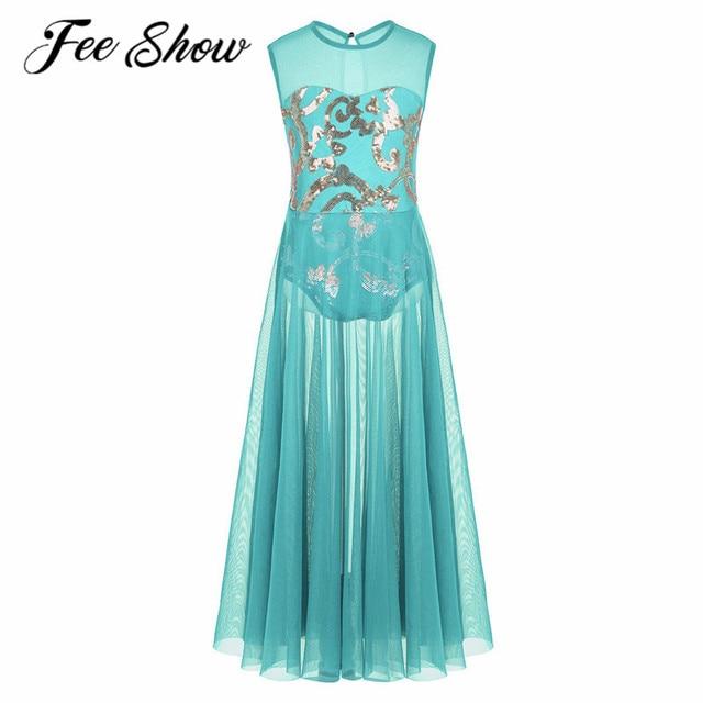 FEESHOW Girls Shiny Floral Sequins Leotard Dress Kids Mesh Celebration of  Spirit Praise Lyrical Ballet Modern Dance Latin Dress 9a7c38f8c30c