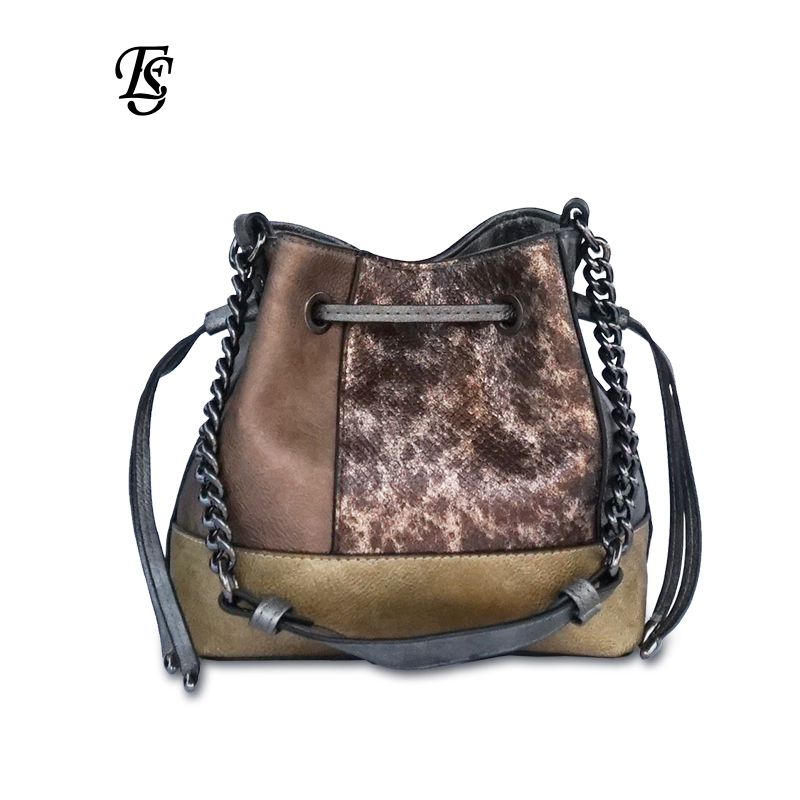 E SHUNFA brand original female shoulder bag fashion drawstring snake chain woman handbag PU stitching leather