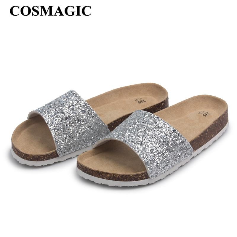 e09fc7002261fe COSMAGIC 2018 New Bling Summer Cork Slipper Sandals Women Casual Beach  Solid Color Flip Flops Slides