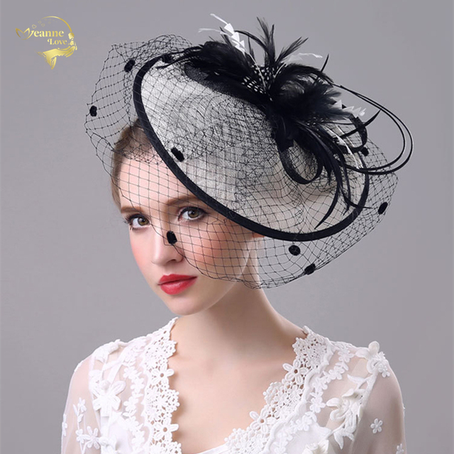 Wedding Hats For Women Vintage Net Bridal Black Accessorie Brides Fascinator Birdcage Veil