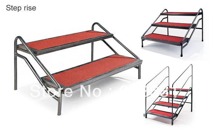 Escalier d'étape pour l'étape mobile, cadre en acier résistant, dessus de tapis, fort et durable