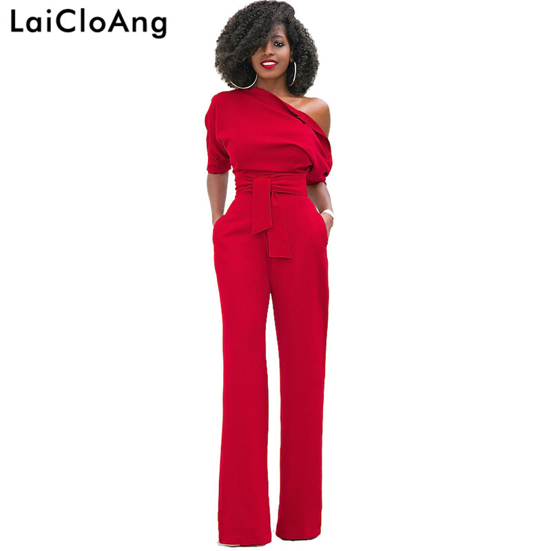 LaiCloAng Oblique Shoulder Sashes Sexy Women Jumpsuit Romper Half Sleeve Pockets Rompers Womens Jumpsuit Casual Ladies
