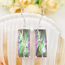 Fashion Jewelry brincos grandes silver plated charm colorful crystal dangle earrings for women