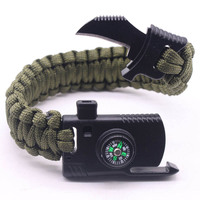 Multifunctional Emergency Bracelet Compass Paracord Bracelets For Men Outdoor Camping Wristband Flint Fire Wrap Bracelet Homme