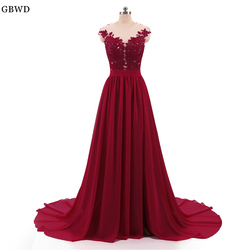 Barato 2018 Borgonha A Linha de Vestidos de Noite Longo Com Botões Sexy Ver Através Voltar Alta Dividir Renda Prom Vestido de Noite Vestidos