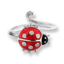 Original de 925 anillo de plata esterlina apertura ladybird escarabajo esmalte anillos para mujeres anillos partido ajustable joyería anel