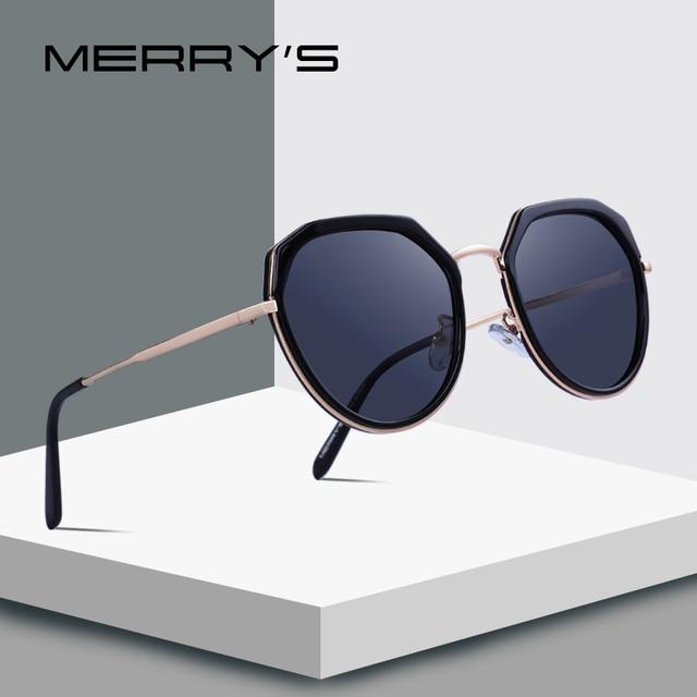 MERRYS дизайн Для женщин Роскошные поляризованных солнцезащитных очков металл храм UV400 защиты S6222