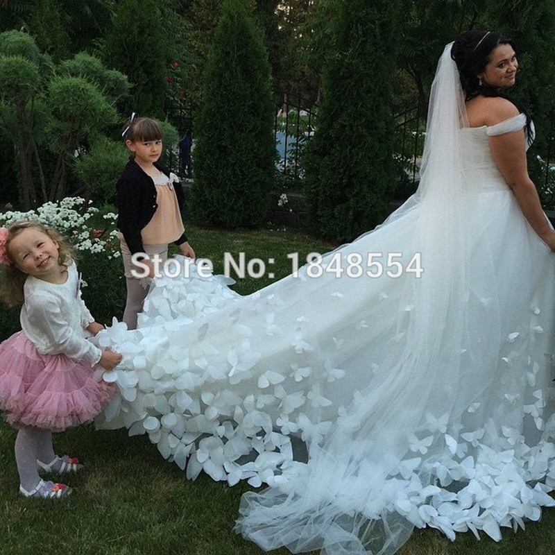 Mzy692 Tulle White Ivory Butterfly Appliques Long Train