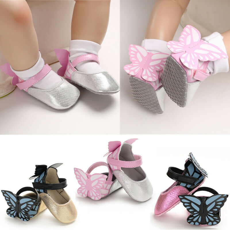 CANIS Fashion Infant Baby Girls Shoes Butterfly Soft Sole Toddler Crib Shoes Soft Comfortable First Walk Prewalker