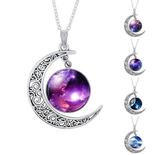 Fashion Purple Nebula Space Universe Women Galaxy Crescent Moon Necklace Silver Plated Half Moon Pendant Necklace 620181