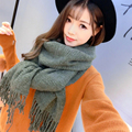 SH027 Stylish Winter Scarves for Women Lovers Couples Cashmere Scarves Solid Color Tassels Women Scarves Warm Plain Thick Shawls