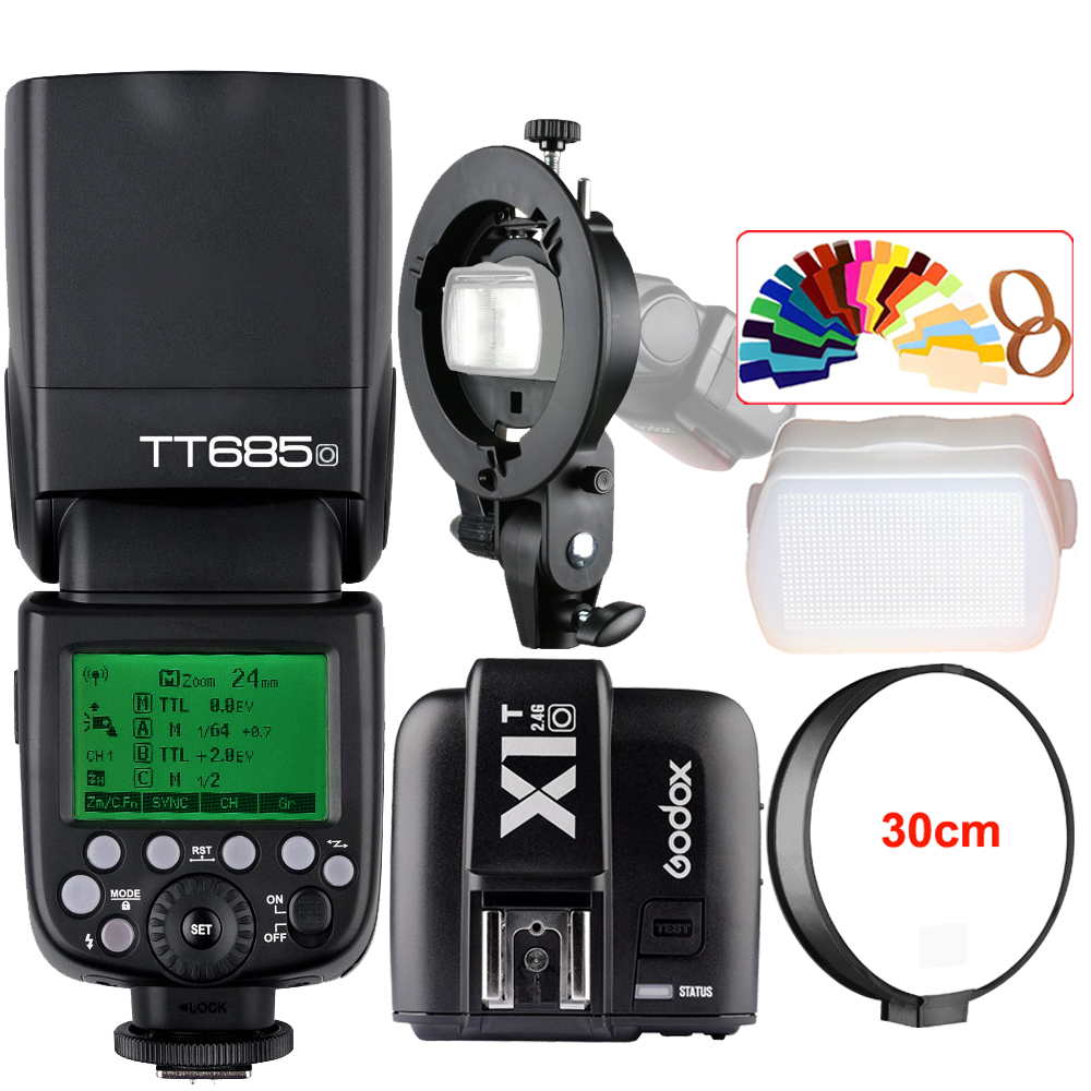 Godox TT685O 2.4G HSS 1/8000s TTL Camera Flash Speedlite + X1T-O Trigger + Bowens S-Type Bracket for Panasonic Lumix DSLR Camera godox v860iic v860iin v860iis x1t c x1t n x1t s hss 1 8000s gn60 ttl flash speedlite 2 4g transmission godox softbox filter