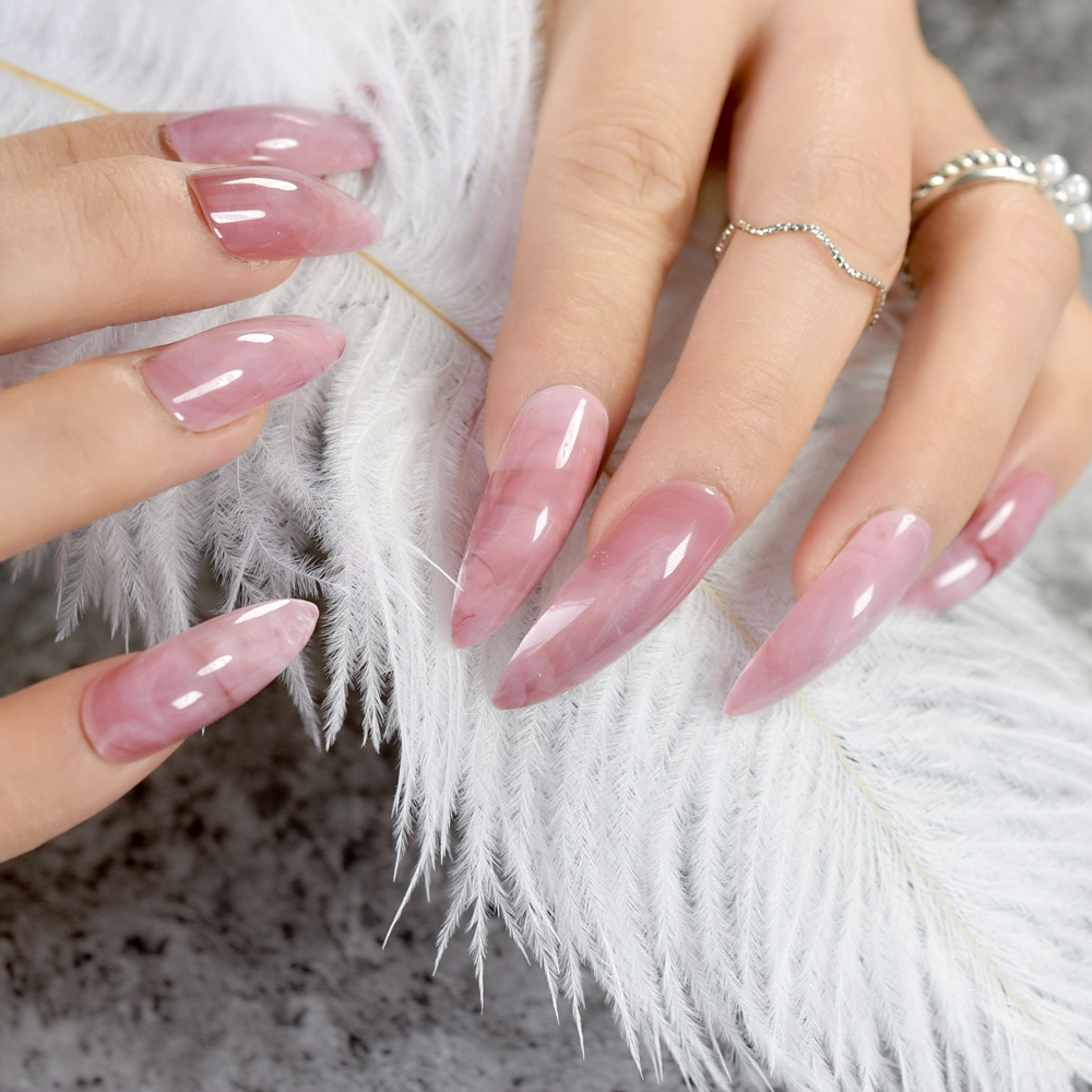 Extra Long STILETTO False Nails Pre designed Curved Pink Marble ...