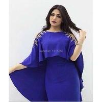 Two Piece Vestido De Festa Long Evening Dresses with Cloak Cape Plus Size Womens Mother Gowns 2 Piece Dress Set Saudi Arabia
