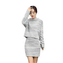 f09a7dbf1f WOMAIL Sweater Dress Winter 2 Pieces Set Women Long Sleeve Office Wear  Casual Gray Pullover Knitted