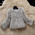 Luxury Faux Fur Coat Three Quarter Sleeve Female Shaggy Jacket Winter Fashion 2016 Slim Fur Fourrure Female Parkas PC245