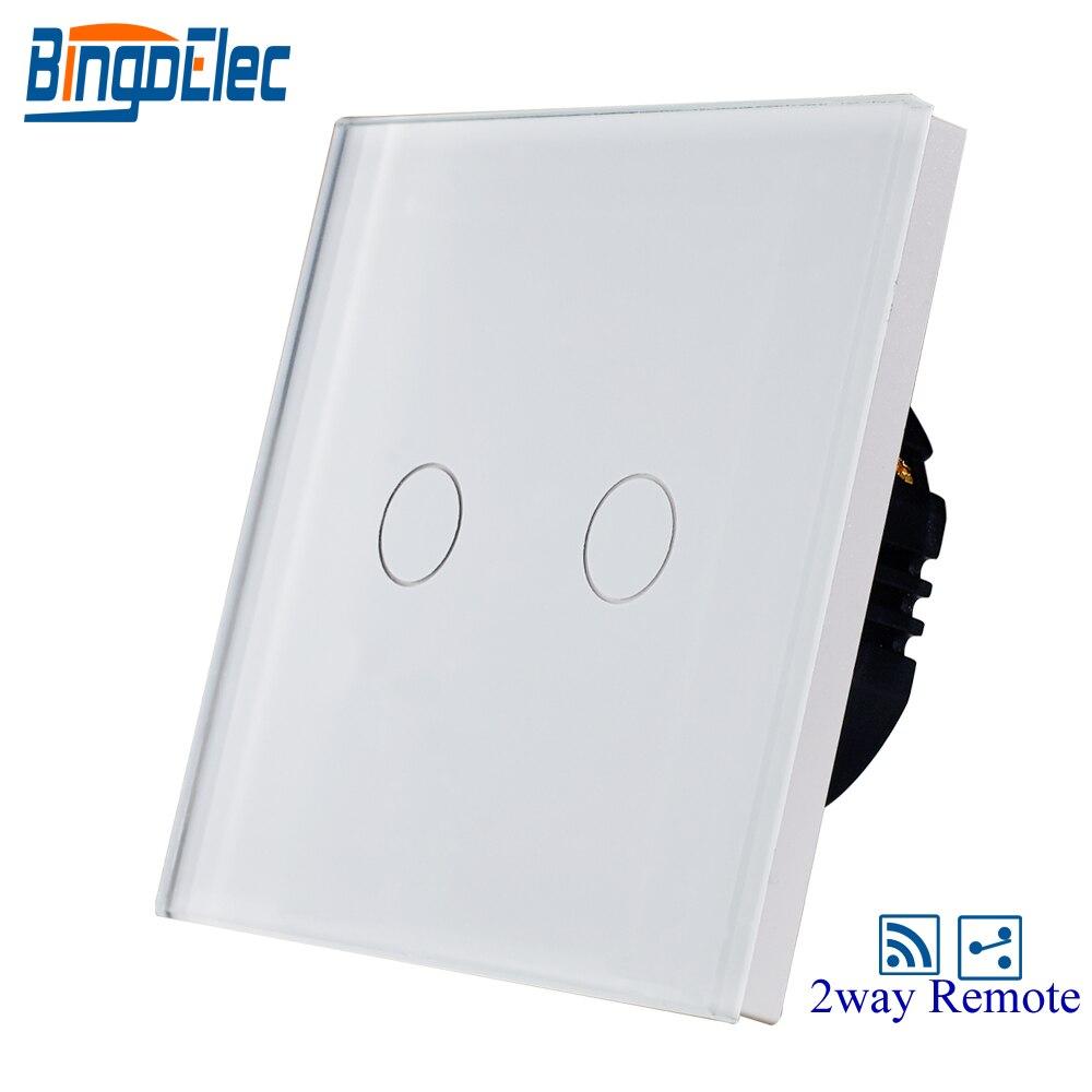 AC110-240V bianco pannello di vetro 2 gang 2way tocco interruttore a distanza
