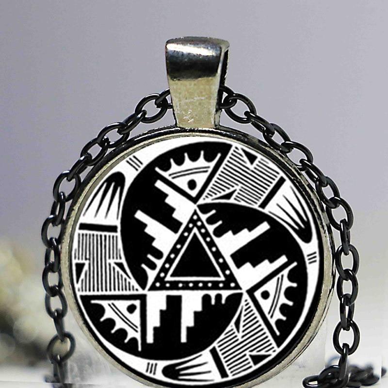Ndian кулон Хопи Дизайн кулон Черный и белый анасази индийский Цепочки и ожерелья Индеец Дизайн юго ювелирные изделия