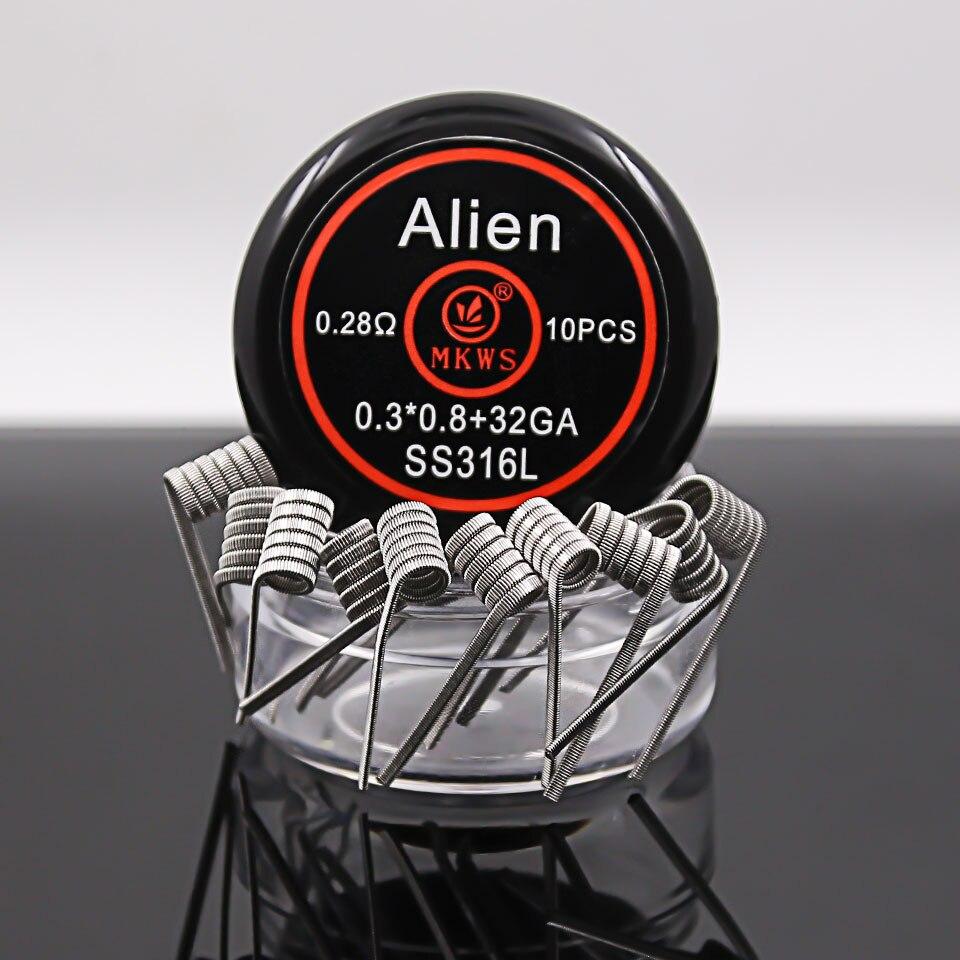 10 PCS Alien clapton ss316L NI80 A1 prebuilt coils for electronic cigarettes RBA RDA RTA RDTA atomizer vape tank prebuilt wire el izi okumali silah kasası