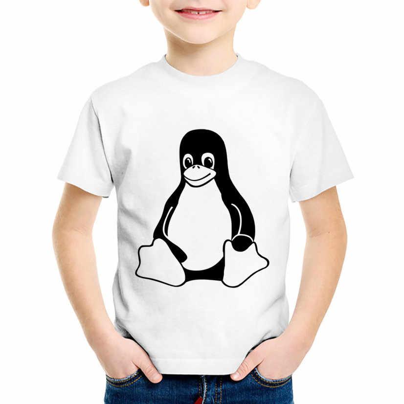 Mode imprimer le pingouin LINUX enfants T-shirts drôles enfants d'été à manches courtes T-shirts garçons/filles décontracté és bébé vêtements, HKP800