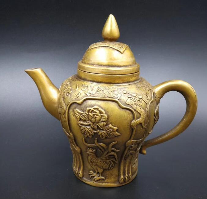 Chinese pure brass carving chicken teapot crafts statueChinese pure brass carving chicken teapot crafts statue