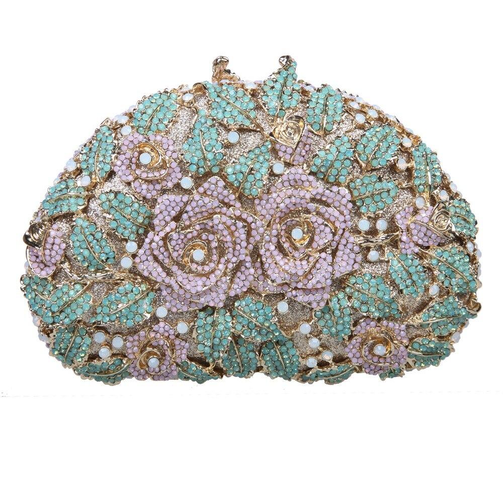 Fawziya Clutch Bling Flower Rhinestone Rose Clutch Purse For Party Handbags For Women clutch adriana muti clutch
