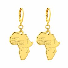 CHENGXUN Africa Map Pendant Earrings for Women Men Gold Color Ethiopian Jewelry African Cards Hip-hop Drop Earrings Party Gift(China)
