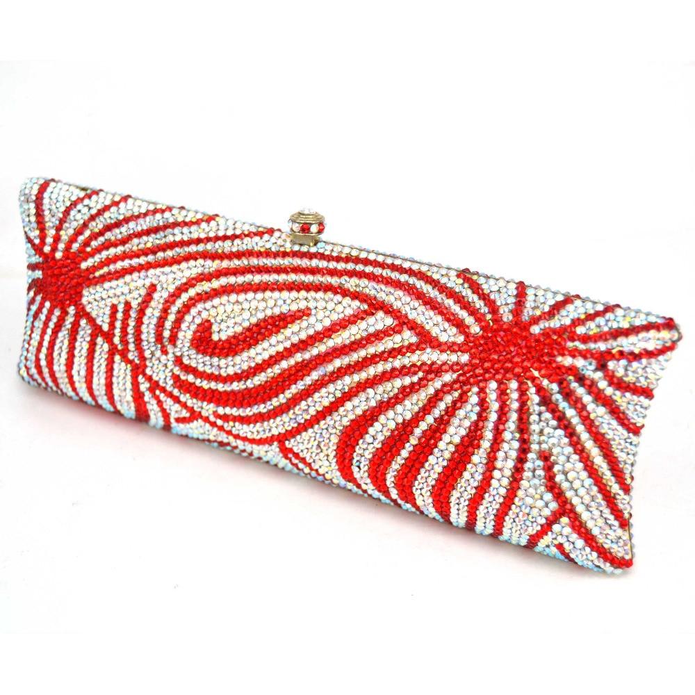 Luxe Parti Élégante Sac Soirée Cristal Femmes Mode Pochette Femelle Cupcake Bag Paquet Sc541 Flamme Rouge Embrayages Mariage De D'embrayage Bourse Longue B8O0xPw