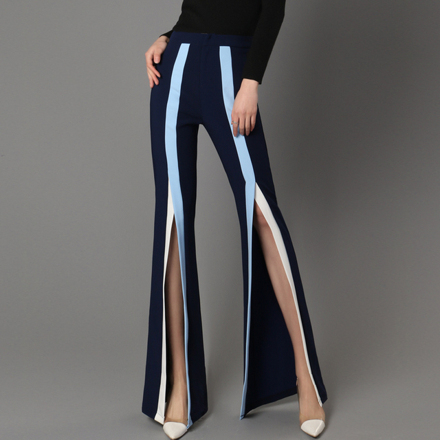 19d5d584886 2018 Spring New Women Wide Leg Pants Fashion Stripe Split Bell Bottom Pants  High Waist Boot