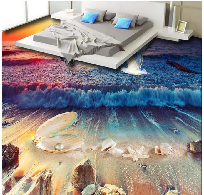 Modern Wallpaper Vinyl Floor Tiles Shell pearl conch Wall papers Home Decor Living Room Floor 3d Wallpapers On The Wall ocean blue pearl shell mosaic tile gray natural marble kitchen backsplash sea shell tiles subway glass conch wall tiles lsbk53