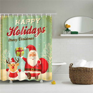 Image 2 - 180*180cm Waterproof Shower Curtain for Bathroom Christmas Print Bathtub Curtains Decoration Polyester Bath Curtain 1PC