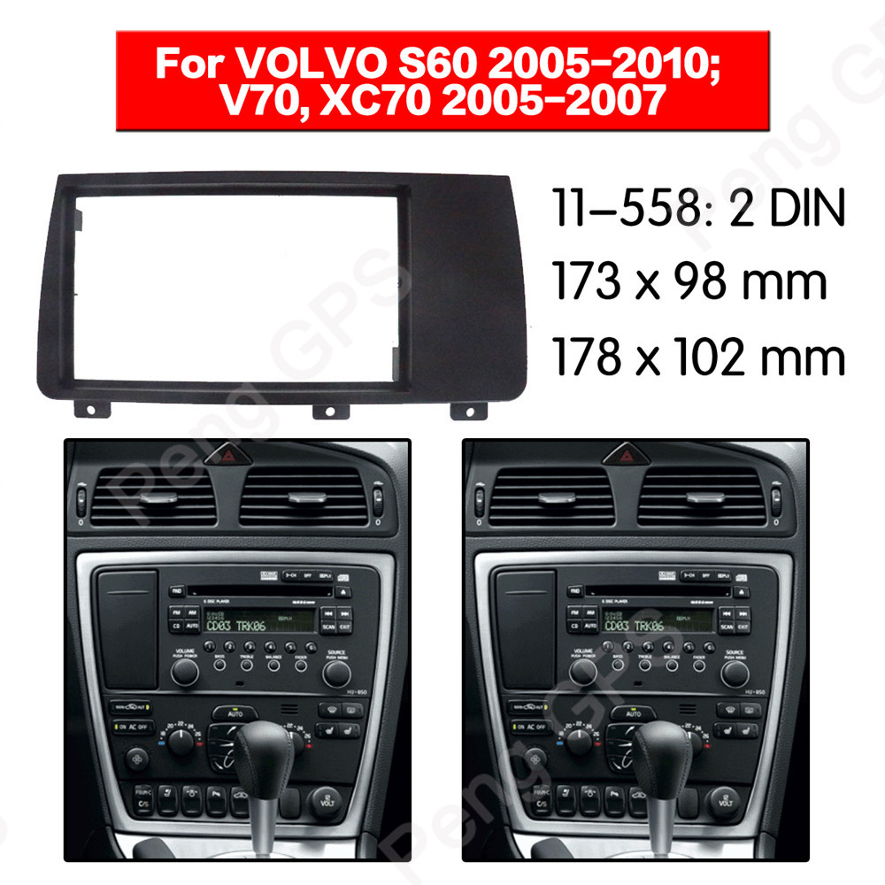2 DIN Car Radio stereo Fitting installation Trim Kit adapter fascia For VOLVO S60 2005 2010