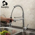 Contemporary Chrome Finish Solid Brass Spring Kitchen Faucet Two Spouts Deck Mount Mixer Faucet