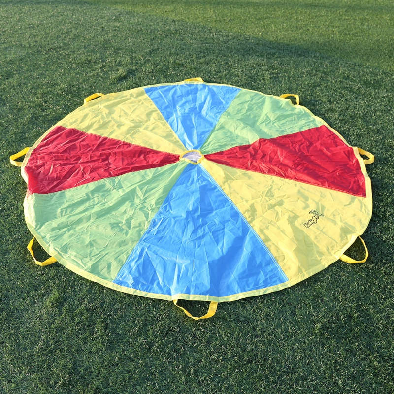 Children Kid Sports Development Outdoor Rainbow Umbrella Parachute Toy Jump-sack Ballute Play Parachute
