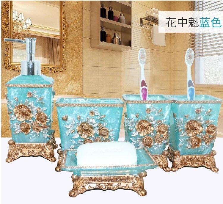Resin Bathroom Set Five Piece Bathroom Style Retro American Luxury Toiletries Shukoubei Wedding Gift Set