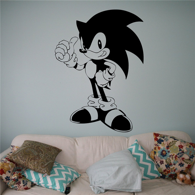 Sonic Vinyl Decal Sonic Hedgehog Wall Vinyl Sticker Video Game Cartoons Home Interior Children Kids Room Decor