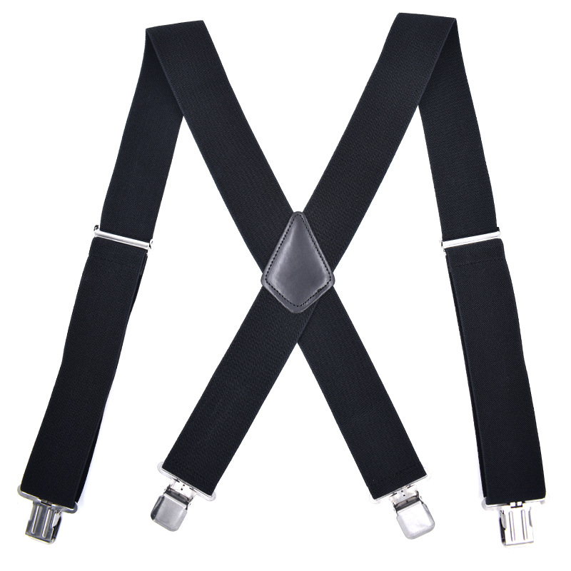 Mantieqingway Black Suspenders For Mens 4 Clips Strap Solid Color Adjustable Slim Braces 5cm Wide Suspenders Belt Strap Braces