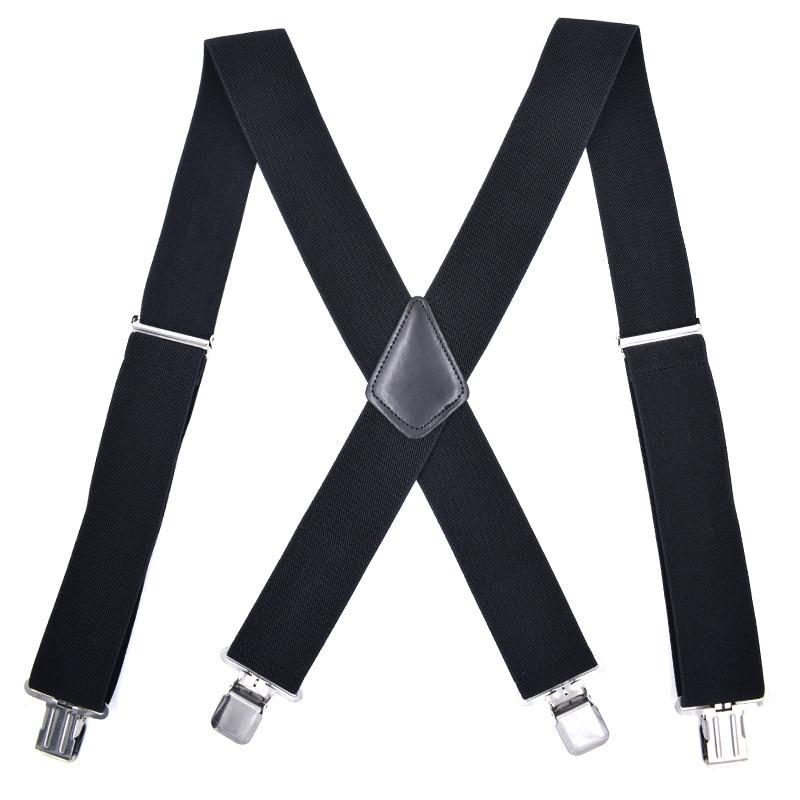 Mantieqingway Black Suspenders For Mens 4 Clips Strap Solid Color Adjustable Slim Braces 5cm Wide Suspenders Belt Strap Braces