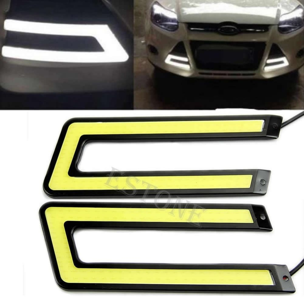 Hot Sale 2016 2pcs White COB 6000K Led Daytime Running Light DRL Headlight Fog Lamp U Shape-Y103