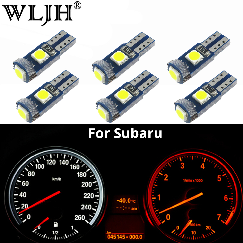 WLJH 6x Canbus T5 LED Lamp 73 74 3030 SMD Bulb Instrument Panel Lights for Subaru BRZ Legacy Tribeca Outback Forester Impreza цена