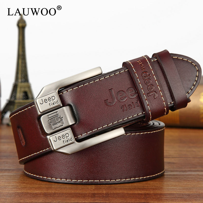 LAUWOO fashion mens casual genuine leather belt High quality cowhide retro buckle belt new design Brown Belts free shipping(China)