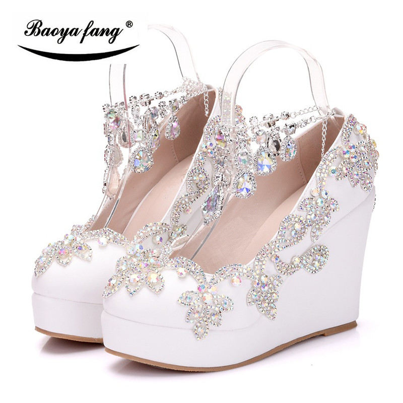 BaoYaFang New Women crystal wedding shoes Wedges high heels platform shoes crystal ankle strap Woman Pumps high shoes baoyafang red crystal womens wedding shoes with matching bags bride high heels platform shoes and purse sets woman high shoes