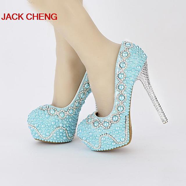 cea8700a41c Handmade Popular Yellow Green color Pearl Wedding Shoes Bridal Shoes Blue  Banquet Prom Platforms Women Formal Dress Shoes