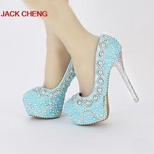 Handmade Popular Yellow Green color Pearl Wedding Shoes Bridal Shoes Blue Banquet Prom Platforms Women Formal Dress Shoes