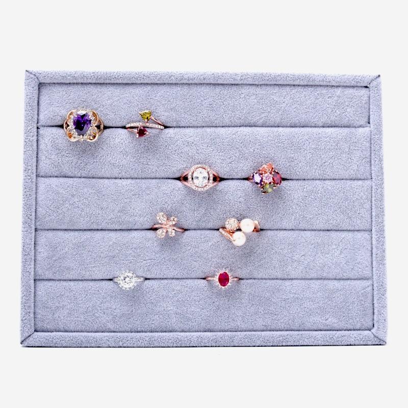 Velvet Gray Ring Display Holder Ring Display Stand Ring Display Tray Velour Jewellry Tray Jewelry Tray