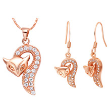 Plated NEW suit 925 sterling silver set small fox pendant ear Ding two color Korean jewelry