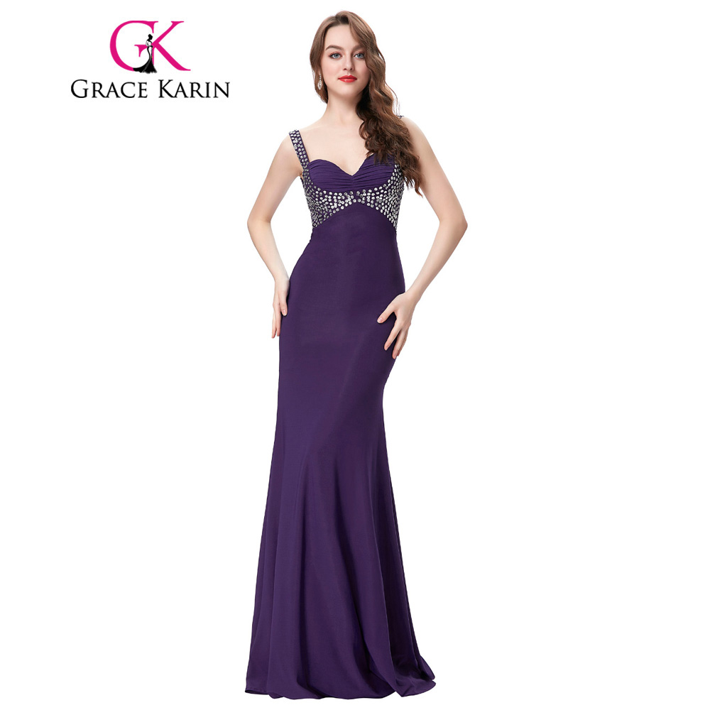 ▻Grace Karin Long Prom Dresses Sequined Beading Prom Gown V neck ...