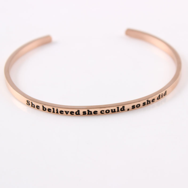 2017 New Rose Gold Stainless Steel Engrave She Believed She Could so She Did Cuff Friendship Bangle Bracelet