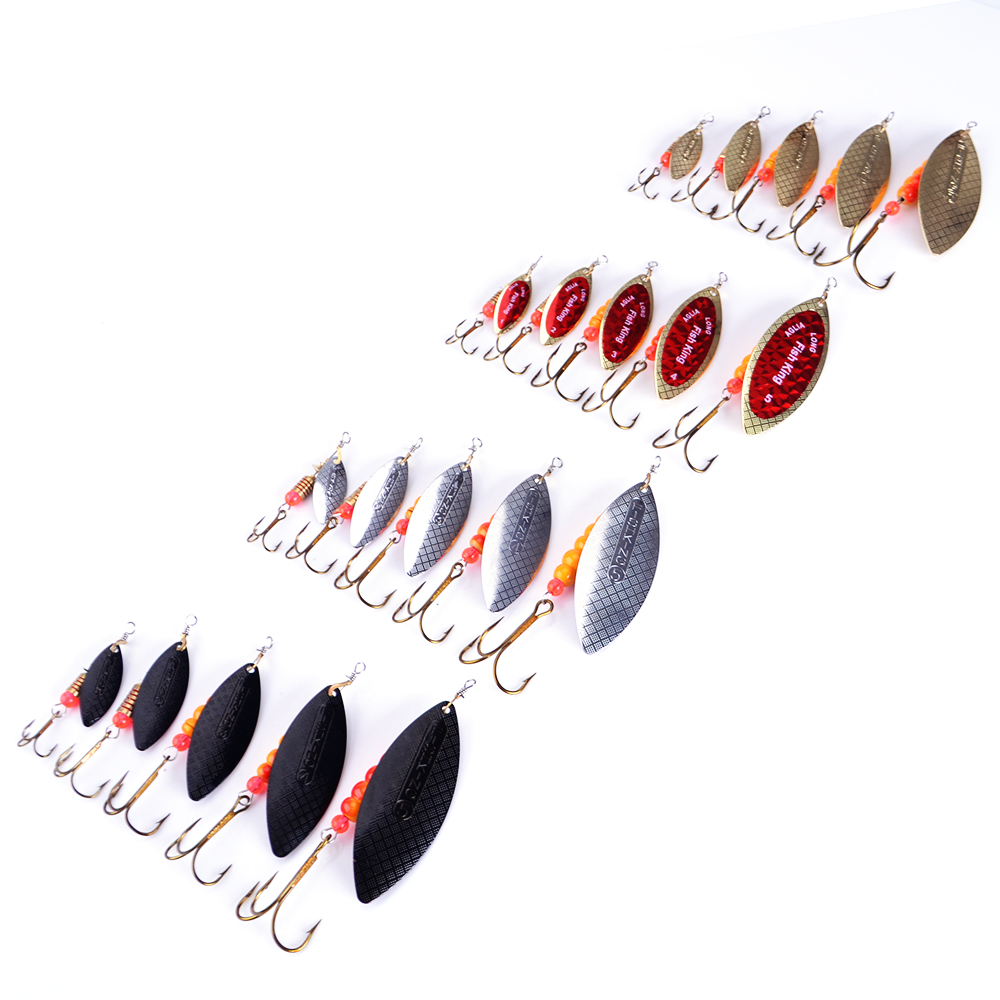 FISH KING 1PC Size1-5 Fishing Lure pesca Mepps Spinner bait Spoon Lures With Mustad Treble Hooks Peche Jig Anzuelos isca Pesca protective pu pc flip open case w card slots stand for samsung galaxy 3 10 1p5200 white