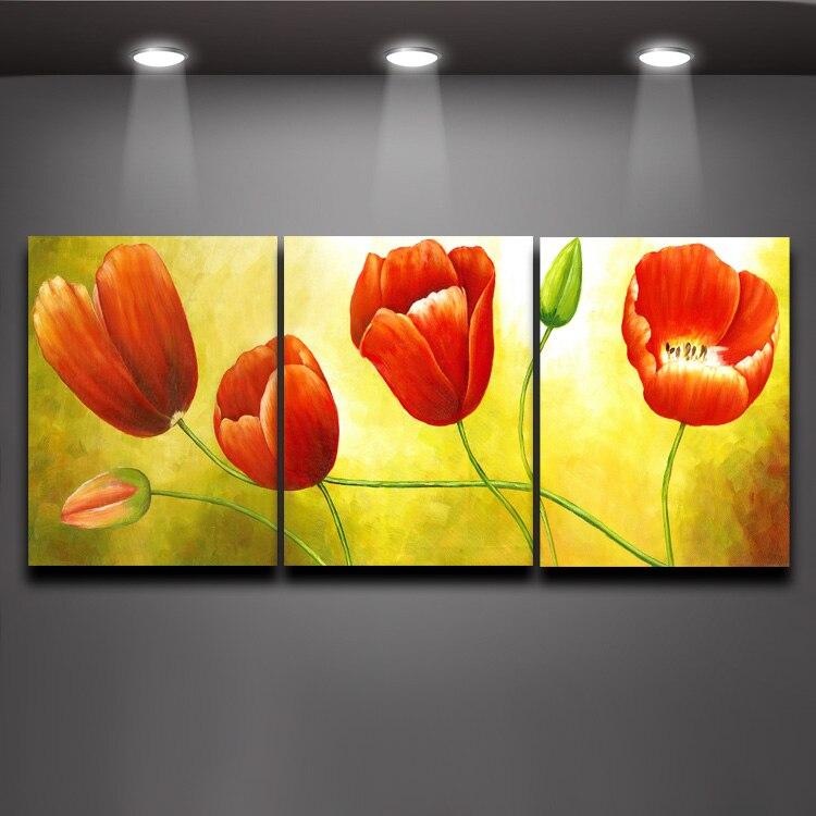 3 Piece Set Tulip Vans Canvas Painting Modern Flower Canvas Prints ...